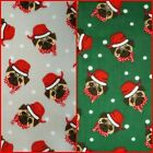 Christmas Pug Polycotton: Fabric Spot Dot Xmas Red Green Emerald Silver Hat