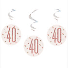 40th Birthday Rose Gold,Decorations,Party,Confetti,Balloons,Banner,Flag Bunting