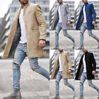 Mens Winter Trench Coat Single Breasted Outerwear Long Jacket Casual Overcoat