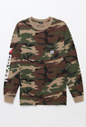 Brixton Mens Long Sleeve Pocket T-Shirt STOWELL Camo S-M $40 NWT