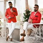 Red Men's Blazer Coat Business Party Wedding Prom Peak Lapel Double Breasted Fit