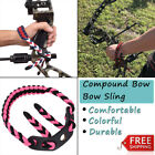 Archery braided Paracord Compound Bow Wrist Sling Strap + Leather Survival Green