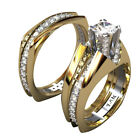 18K Gold Plated Crystal Diamond Rings Womens Mens Couple Wedding Party Jewelry