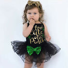 Infant Baby Girl St.Patrick's Day Clothes Sleeveless Bow Tutu Dress Party Outfit