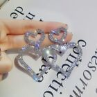 Very Sparkling Diamante Rhinestone Silver Or Gold Heart Statement  Earrings *UK*