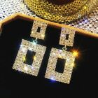 Very Sparkling Diamante Rhinestone Silver Or Gold Square Bling Earrings **UK**