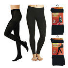 Ladies Womens Fleece Lined Thermal Tights Warm Winter Thick Cosy Black Size S-XL
