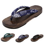 Men Clogs Slippers Geta Thong Sandals Flops Japanese Wooden Cosplay Party Shoes