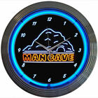 Neon Mancave Wall Clock Garage Office Living Room Party Cave Blue Lighted Face