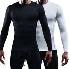 Mens Compression T-Shirt Long Sleeve Gym Base Layer Under Top Sports Fitness A96 image