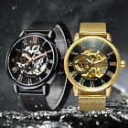 Men Skeleton Mechanical Wrist Watch Stainless Steel Luxury Steampunk Wristwatch image
