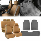 Tan Seat Covers Gray Floor Mats Set for Integrated Seatbelt Vehicles $68.54 USD on eBay