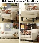 White Linen Furniture Set Sofa Loveseat Accent Chair Ottoman Fabric Sofas Chairs