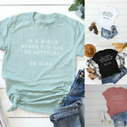Womens Shirt Letter BE KIND Print  T Shirt Mom Tees Inspirational Womens Tops