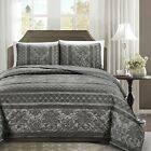 Chezmoi Collection 3-Piece Floral Stripe Motif Quilted Bedspread Coverlet Set
