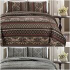 Chezmoi Collection 3-Piece Floral Stripe Motif Quilted Bedspread Coverlet Set image
