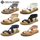 DREAM PAIRS Women's Open Toe Ankle Strap Casual Summer Elastic Flat Sandals