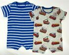 New NEXT Baby Boys Cotton Summer Fire Engines Striped 2 Pack Rompers Babygrows