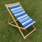 Solid Wood Frame Folding Deckchair With Fabric Slings Garden Beach Deck Chair