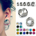 "Pair CZ Gem Inlay Steel Ear Flesh Tunnels Double Flared Gauges Plugs 0G -5/8"" US"