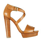 Ralph Lauren Collection Gold Calf Leather Sharie Platform Sandals New