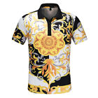 New Versace Men Gold print T-shirt Summer Polo shirt image