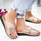 Womens Comfy Bunion Corrector PU Leather Wedge Sandals Slip On Shoes Slippers