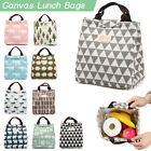 Portable Canvas Lunch Bags Thermal Insulation Food Box Tote Printed Pattern