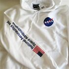Riot Society Mens Hoodie NASA Logo Sleeve Graphics L XL White Cotton Blend