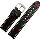 23mm Black Brown Genuine Leather Classic Men Watch Band Handmade Silver Buckle