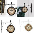 Outdoor Bracket Garden  Station Wall Clock Double Sided Clock 21.8cm Black/White