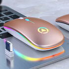 Slim Wireless Mouse Silent USB Mice 2.4GHz Rechargeable RGB For PC Laptop US
