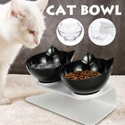 UK Cat Double Bowls Pet Dog Food Water Bowl Feeder Dual Angle with Raised Stand