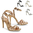 New Womens Strappy Ankle Strap Sandals Ladies Stiletto High Heel Party Shoes