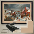 "44W""x32H"" MASSACRE OF THE INNOCENTS by P BRUEGEL - DOUBLE MATTE, GLASS and FRAME"