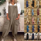 Women's Loose Linen Cotton Jumpsuit Dungarees Solid Playsuit Trousers Overall 80