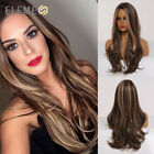 Element Highlight Brown Wigs Long Nature Wave Synthetic Hair for Woman Daily Wig