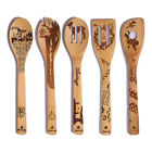 5X Bamboo Spoons Xmas Halloween Cooking Utensil Kitchen Tableware Party Supplies