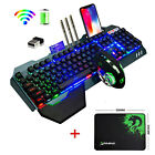 US Wireless Keyboard and Mouse Rainbow LED Backlit Rechargeable For PS4 PC Gamer