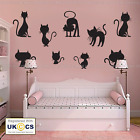 Cats Wall Stickers & Decals 9 Kittens Vinyl Art Cute Kid Bedroom Decor Removable