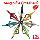 12X Broadhead 100Grains ArrowHead 3 Blades for Archery Targeting Hunting Outdoor