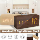 Wooden Digital Clock Desk Wood Alarm LED Display Temperature Thermometer Calenda