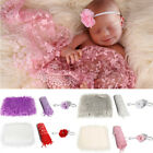 3pcs Baby Photo Props Blanket  Wrap  Headband Set Newborn Photography Wrap Mat
