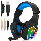 3.5mm Blue LED Gaming Headset Headphones for PC PS4 PS5 Laptop Mac MIC Xbox One