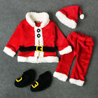 4PCS Christmas Santa Claus Fancy Dress Kids Baby Suits Cosplay Costume Clothes