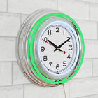 14 Retro Neon Wall Clock, Double Light Ring Vintage Style Clock by Lavish Home