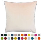 Riva Paoletti Meridian Faux Velvet Piped Cushion Cover