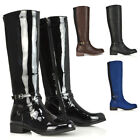 Womens Stretch Calf Knee Boots Ladies Low Heel Biker Riding Biker Long Shoes 3-8