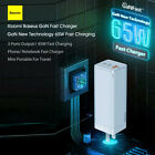 GaN 65W Wall Charger Fast Charging 90°Foldable US Plug For iPhone Samsung G9J3