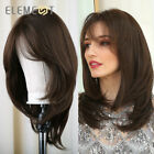 Element Natural Brown Wigs with Side Bangs Heat Resistant Party Wigs for Women